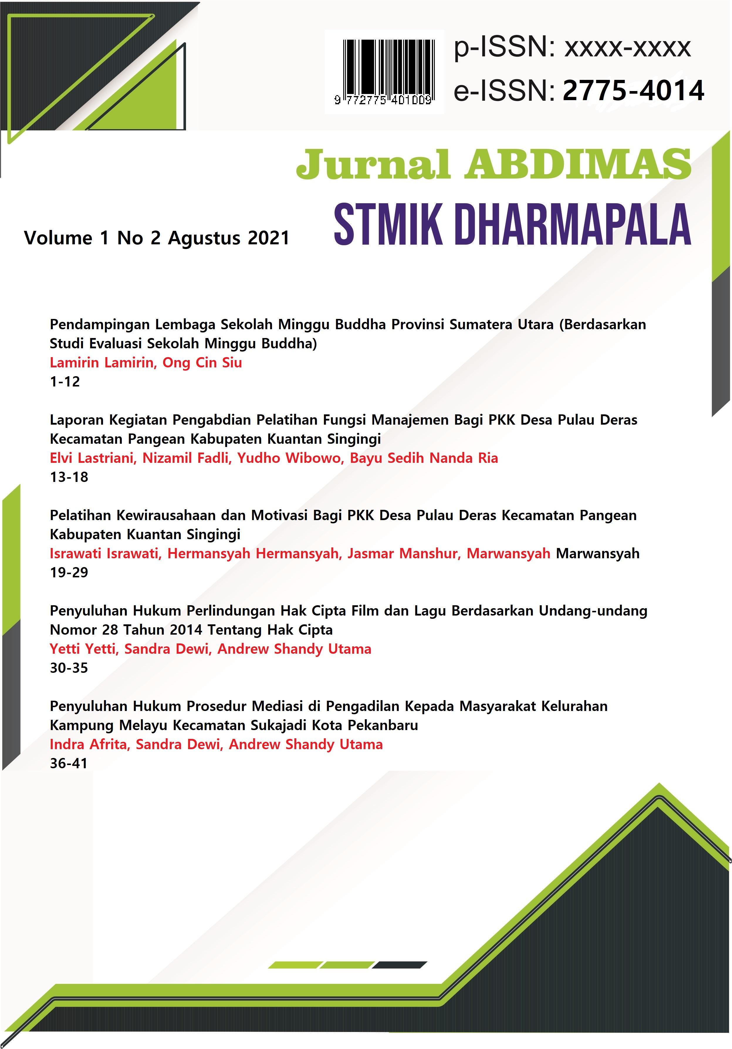 View Vol. 1 No. 2 (2021): Jurnal Abdimas STMIK DPR